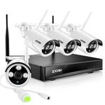 Bezvadu ārā izmantojama videonovērošanas sistēma ZOSI 4CH NVR ar 4 bezvadu Megapixel 960P kamerām