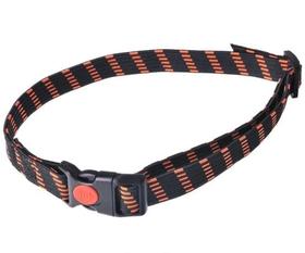Gumijas kakla siksna - melni-oranža 25mm